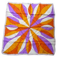 Vintage Vera Pop Art Big Flower Purple Orange Yellow White Silk Scarf