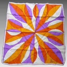 Vintage Vera Pop Art Big Flower Purple Orange Yellow White Silk Scarf