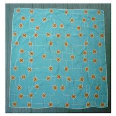 Vintage Vera Pop Art Little Flowers Orange Yellow White Aqua Scarf