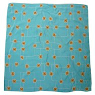 Vintage Vera Pop Art Little Flowers Orange Yellow White Aqua Scarf