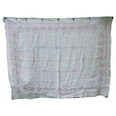 Lovely Large White Linen  X Stitch Embroidered Pink and Black Tablecloth