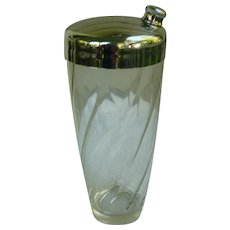 Large Cocktail Shaker Swirl Clear Glass Chrome Lid