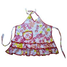 Red Pink and Yellow Hawaiian Flowers Print Vintage Full Apron