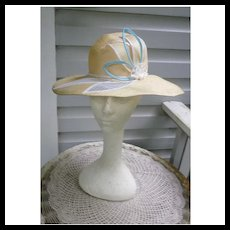 Chapeau Creations Ruth Kropveld Natural Straw Leaves and Rosette Trim Vintage Hat