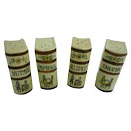Vintage Set of 4 Ceramic Book Shape Spice Shakers Japan