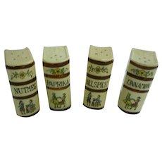 Vintage Set of 4 Ceramic Book Shape Spice Shakers Japan