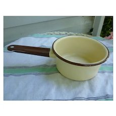 Vintage Brown and Tan Enamel Saucepan