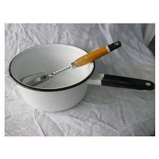 Vintage White and Black Enamel Saucepan and Ekco Beater Set