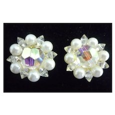 Gorgeous Signed Lisner AB Crystal Rhinestone and Faux Pearls Vintage Clip Earrings