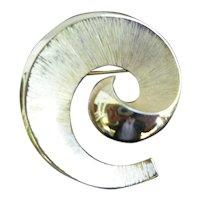 Trifari Textured Goldtone Spiral Brooch