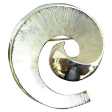 Trifari Textured Goldtone Spiral Brooch