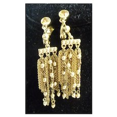 Monet Goldtone Chain and Beads Dangle Earrings