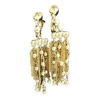 Monet Goldtone Chain and Beads Dangle Earrings