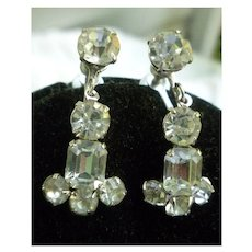 Coro Clear Rhinestones and Silvertone Chandelier Earrings