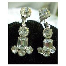 Coro Clear Rhinestones and Silvertone Chandelier Earrings