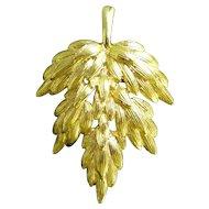 Napier Textured Fronds Goldtone Leaf Brooch Pin
