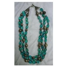 Three Strand Variegated Blue Glass and Metal Beads Necklace