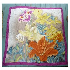 Large Colorful Oriental Lilies Perry Ellis Scarf