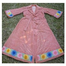 Luxurious Vintage 1940's 1950's Multicolor Chenille Bathrobe