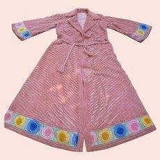 Luxurious Vintage 1940's 1950's Multicolor Chenille Bathrobe