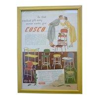 Colorful Cosco Vintage Kitchen Furniture Advertisement Framed