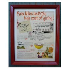 Colorful Pyrex Vintage Kitchen Glass Advertisement Framed