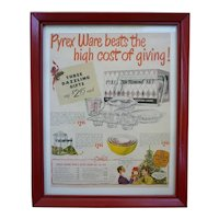 Colorful Pyrex Vintage Kitchen Glass Advertisement Framed
