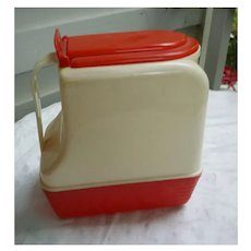 Lustro Ware Vintage Red and White Plastic Pitcher with Hinged Lid