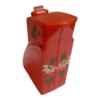 Vintage Calif Moulding Red Plastic with Flowers Pitcher with Hinged Lid