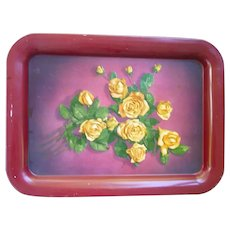 Yellow Roses on Red Metal Serving Tray