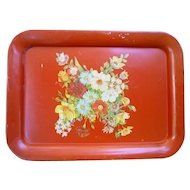 Yellow Blue and Red Flowers on Red Metal Serving Tray