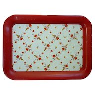 Hall Autumn Leaf Pattern on White and Red Metal Serving Tray