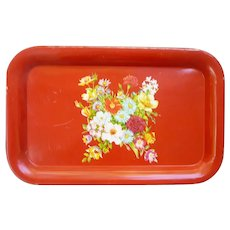 Garden Bouquet of Flowers on Red Metal Serving Tray