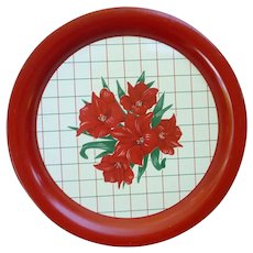 Red Flowers Green Leaves on White and Red Metal Round Serving Tray