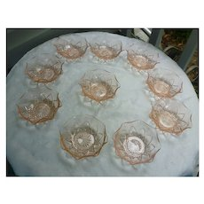 Hazel Atlas Pink Diamond Arches Small Berry Bowls Set