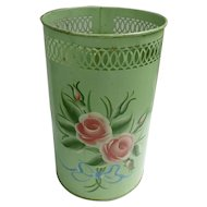 Towle Painted Pretty Green and Pink Roses Vintage Metal Waste Basket