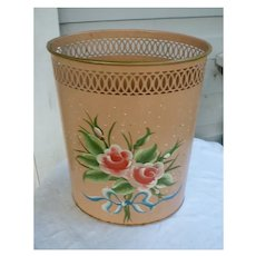 Towle Painted Pretty Pink Roses Blue Bow Vintage Metal Waste Basket