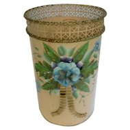 Deco-Art Towle Painted with Raised Relief Flower and Leaves Vintage Metal Waste Basket