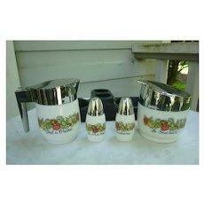 Vintage Corningware Gemco White Milk Glass Spice of Life 4 Piece Serving Set Salt Pepper Sugar Creamer