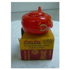 Lustro-Ware Portable Red Plastic Clothesline in Original Box