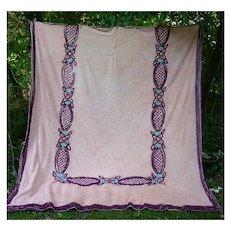 Plush Peach Pink Swirls Maroon Blue Cocoa Flowers on Pink Vintage Chenille Bedspread
