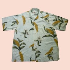 Hilo Hattie Tropical Foliage Print Hawaiian Aloha Surfer Shirt  XL