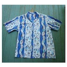 Surf Boards and Hibiscus Print Hawaiian Aloha Surfer Shirt by Hana Fashion