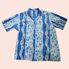 Surf Boards and Hibiscus Print Hawaiian Aloha Surfer Shirt by Hana Fashion