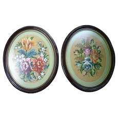 Pair of Needlepoint Bouquets of Flowers in Oval Frames