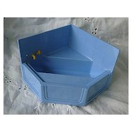 Ideal Dollhouse Furniture Blue Corner Tub