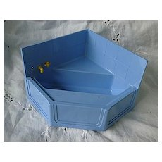 Ideal Dollhouse Furniture Blue Corner Tub