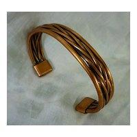 Substantial Copper Braid Open Cuff Bracelet