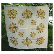 Pineapples Harvest Fruits and Vegetables Vintage Print Linen Tablecloth