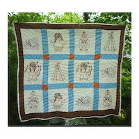 Cute Little Indians in Canoes and Tepees Vintage Quilt